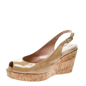 Stuart Weitzman Patent Leather Wedge Slingback Leather Beige Sandals