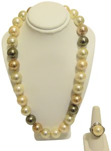Pearlfection Pearlfection Faux Multicolor South Sea Pearl Necklace and Ring Set