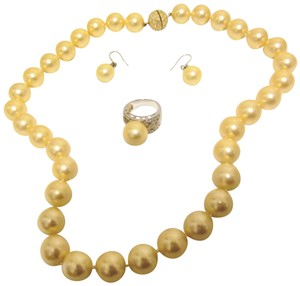 Pearlfection Pearlfection Faux South Sea Pearl Necklace, Ring and Earring Set