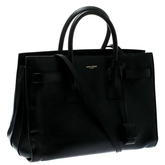 Saint Laurent Suede Leather Tote in Black Image 3