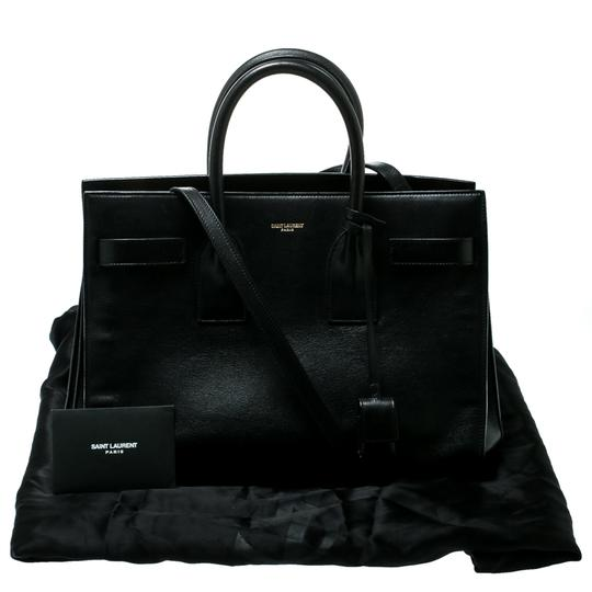Saint Laurent Suede Leather Tote in Black Image 9