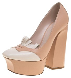 Bottega Veneta Leather Platform Chunky Beige Pumps