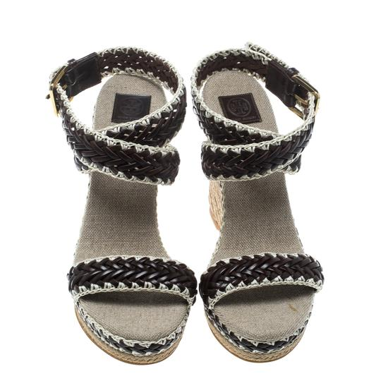 Tory Burch Leather Wedge Woven Rubber Brown Sandals Image 1