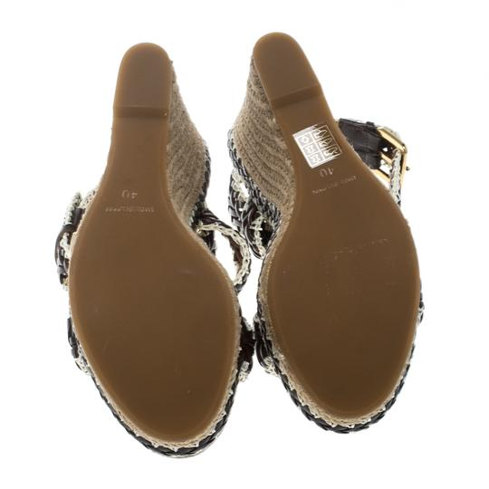 Tory Burch Leather Wedge Woven Rubber Brown Sandals Image 3