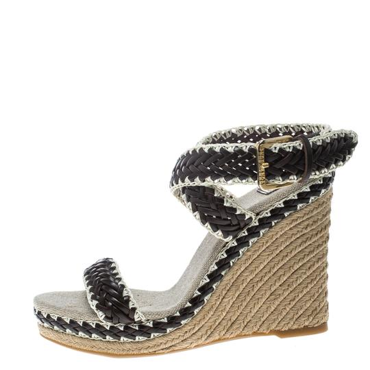 Tory Burch Leather Wedge Woven Rubber Brown Sandals Image 4