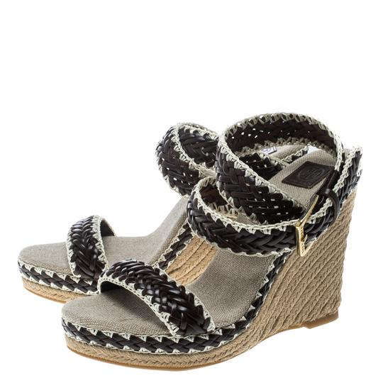 Tory Burch Leather Wedge Woven Rubber Brown Sandals Image 5
