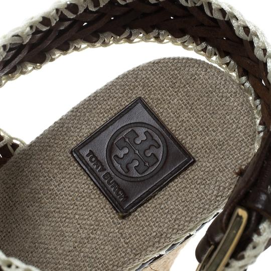 Tory Burch Leather Wedge Woven Rubber Brown Sandals Image 6