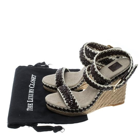 Tory Burch Leather Wedge Woven Rubber Brown Sandals Image 7