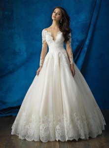 Allure Bridals Ivory and Baby Pink Tulle Lace 9366 Traditional Wedding Dress Size 12 (L)