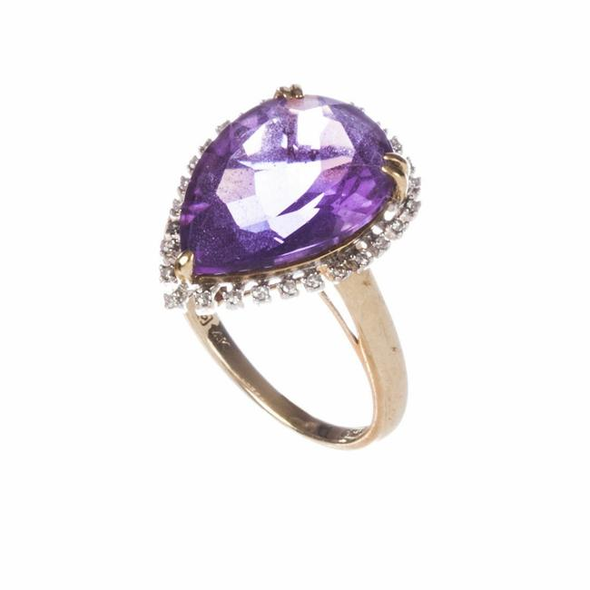 Gold Pear Shaped Amethyst Diamond Cocktail Ring Gold Pear Shaped Amethyst Diamond Cocktail Ring Image 1