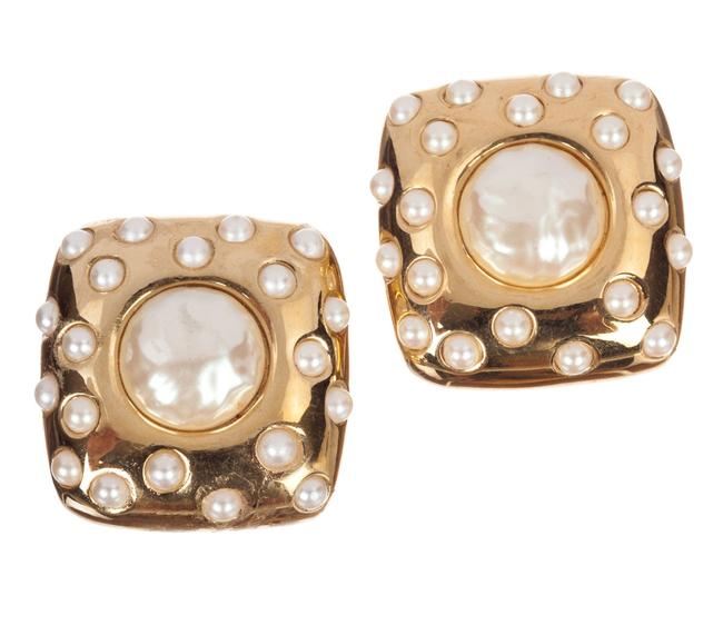 Givenchy Gold Large Square Faux Pearl Cabochon Earrings Givenchy Gold Large Square Faux Pearl Cabochon Earrings Image 1