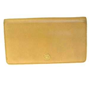 Chanel Authentic CHANEL CC Logos Long Bifold Wallet Purse Leather Beige Italy