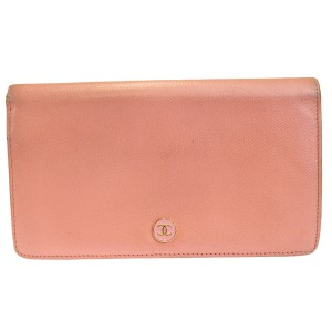 Chanel Authentic CHANEL CC Logos Long Bifold Wallet Purse Leather Pink Italy