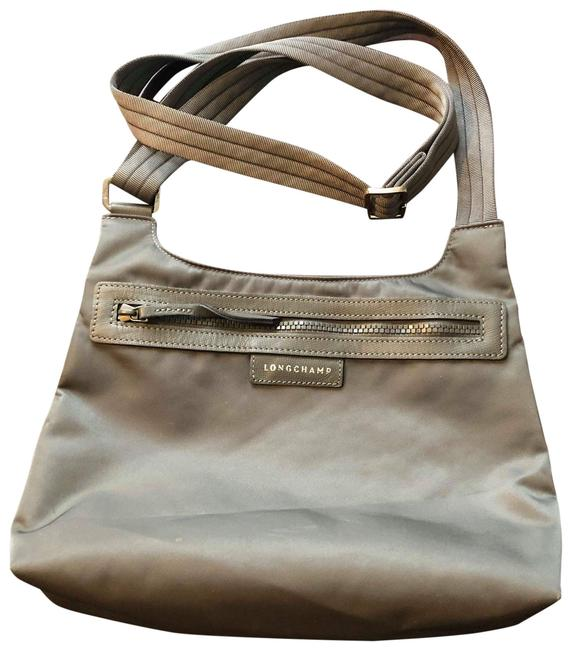 Longchamp Le Pliage Neo Gray/Silver Nylon Cross Body Bag Longchamp Le Pliage Neo Gray/Silver Nylon Cross Body Bag Image 1