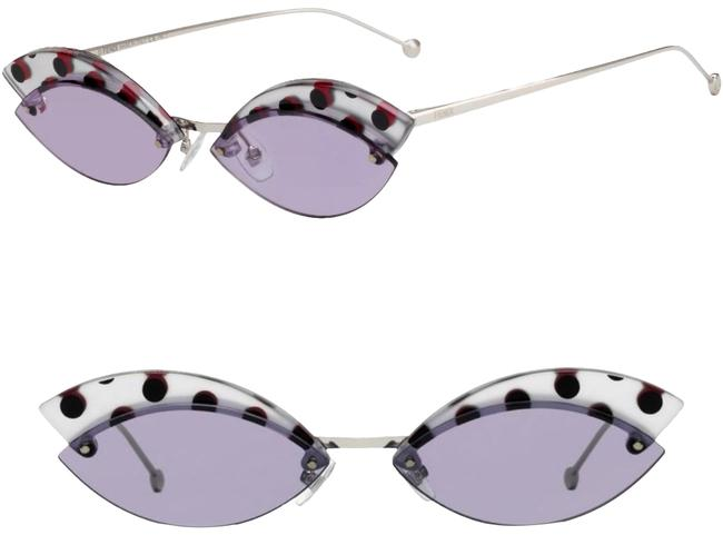 Fendi Silver Lilac Defender Butterfly Sunglasses Fendi Silver Lilac Defender Butterfly Sunglasses Image 1