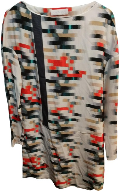 Item - White Multiple Abstract Print Silk Long Sleeve Shift Mid-length Work/Office Dress Size 8 (M)
