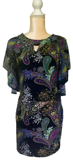 Item - Black & Colorful Paisley Print Mid-length Night Out Dress Size 6 (S)