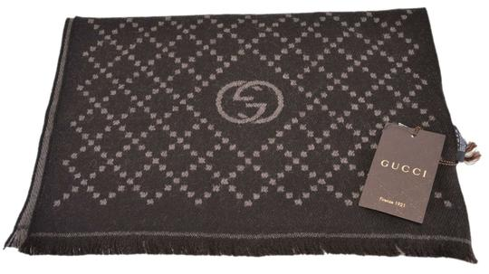 Gucci New Gucci 344995 Reversible Wool GG & Diamante Logo Brown Scarf Image 3