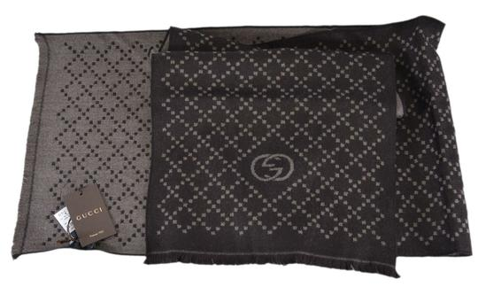 Gucci New Gucci 344995 Reversible Wool GG & Diamante Logo Brown Scarf Image 4