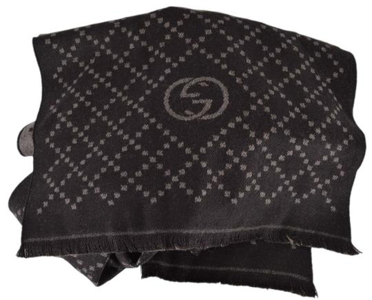 Gucci New Gucci 344995 Reversible Wool GG & Diamante Logo Brown Scarf Image 5