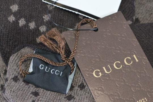 Gucci New Gucci 344995 Reversible Wool GG & Diamante Logo Brown Scarf Image 7
