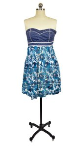Kimchi Blue short dress Blue Floral Strapless on Tradesy