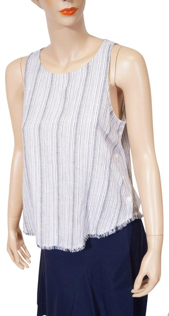 Preload https://img-static.tradesy.com/item/25945619/cloth-and-stone-blue-white-stripe-linen-fringe-sleeveless-m-tank-topcami-size-8-m-0-1-650-650.jpg