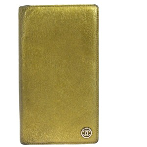 Chanel Authentic CHANEL CC Logos Long Bifold Wallet Purse Leather Gold Vintag