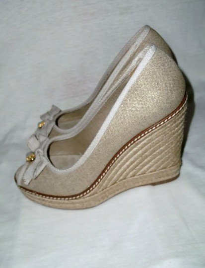 Tory Burch gold and tan Wedges Image 2