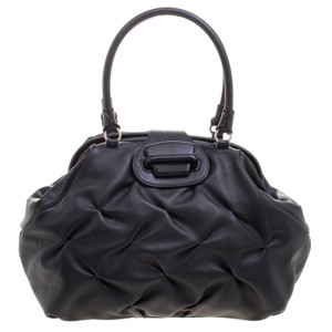 Smythson Leather Satin Satchel in Black