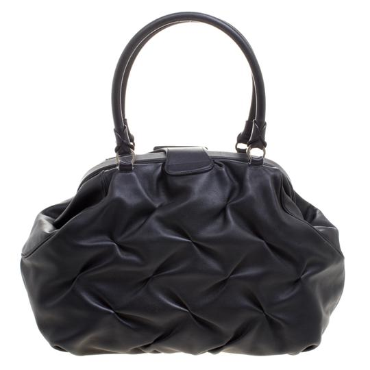 Smythson Leather Satin Satchel in Black Image 1