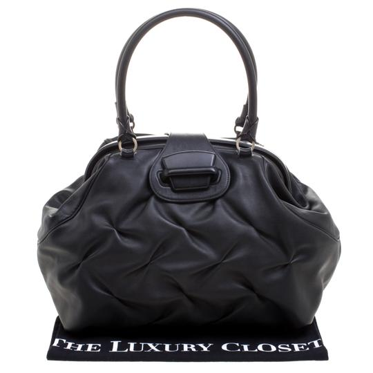 Smythson Leather Satin Satchel in Black Image 11