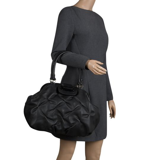 Smythson Leather Satin Satchel in Black Image 2