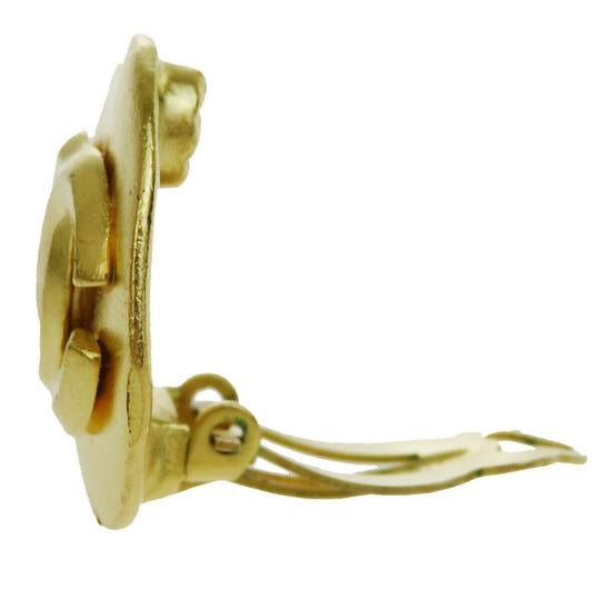 Chanel Auth CHANEL CC One Piece Earrings Gold-tone Clip-On 96P France Accesso Image 2