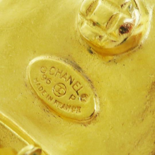 Chanel Auth CHANEL CC One Piece Earrings Gold-tone Clip-On 96P France Accesso Image 6
