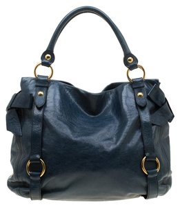 Miu Miu Leather Satin Tote in Blue