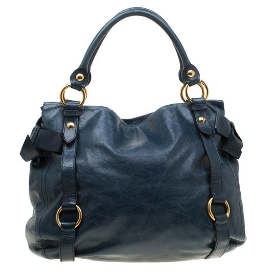 Miu Miu Leather Satin Tote in Blue Image 1