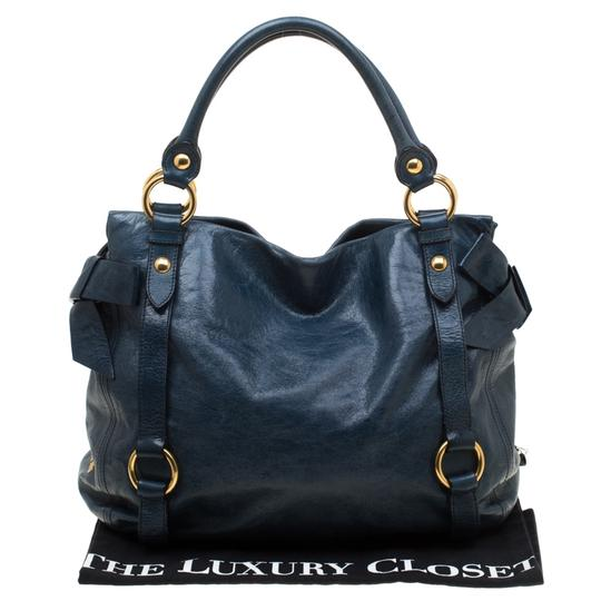 Miu Miu Leather Satin Tote in Blue Image 10
