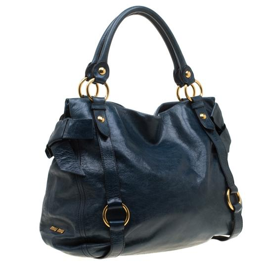Miu Miu Leather Satin Tote in Blue Image 3