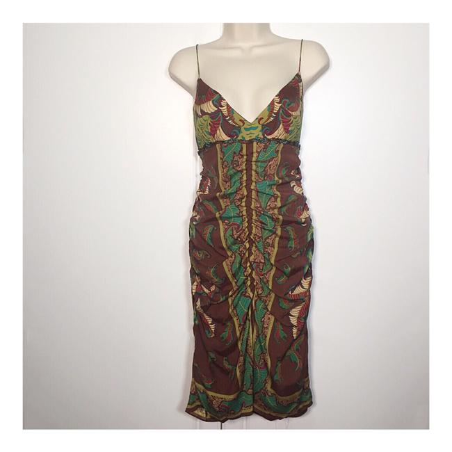 Item - Brown Green Turquoise Silk Tropical Print Mid-length Cocktail Dress Size 8 (M)
