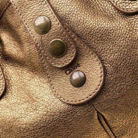 Chloé Leather Satchel in Gold Image 8