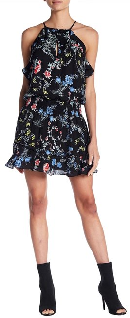 Parker Black Floral Ruffle Trim Bold Print Short Cocktail Dress Size 0 (XS) Parker Black Floral Ruffle Trim Bold Print Short Cocktail Dress Size 0 (XS) Image 1