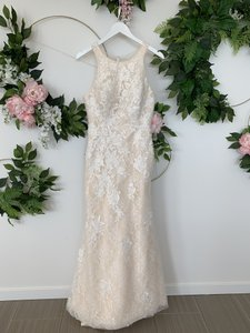 Rosa Clará Nude Lace and Tulle Austral Feminine Wedding Dress Size 10 (M)