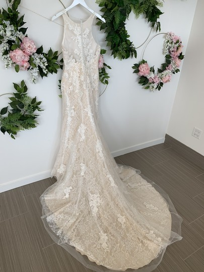 Rosa Clará Nude Lace and Tulle Austral Feminine Wedding Dress Size 10 (M) Image 2