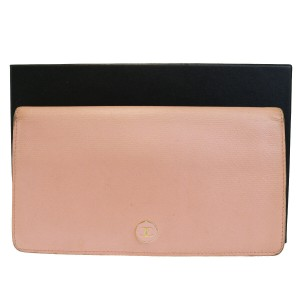 Chanel Authentic CHANEL CC Logos Long Bifold Wallet Purse Leather Pink Vintag