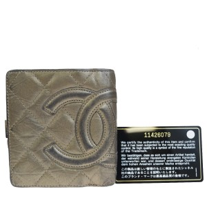 Chanel Auth CHANEL CC Cambon Quilted Bifold Wallet Purse Leather Khaki France
