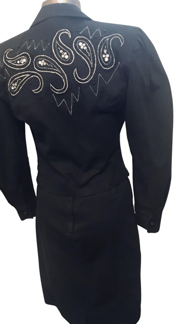 Preload https://img-static.tradesy.com/item/25946035/black-denim-and-sequin-embroidered-skirt-suit-size-4-s-0-1-650-650.jpg