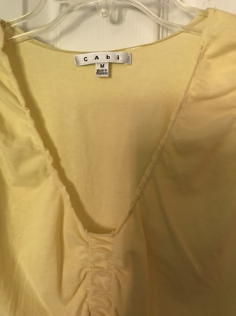 CAbi Vneck Sleeve T Shirt Butter Yellow Image 2