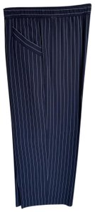 Eileen Fisher Wide Leg Pants navy with white woven stripes