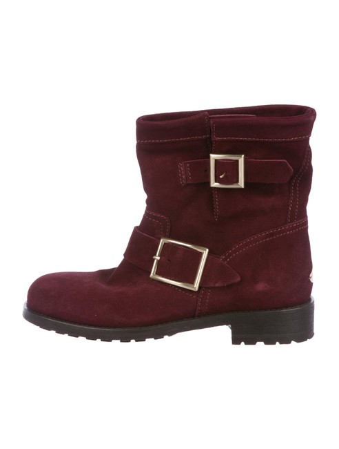 Item - Burgundy Suede Motorcycle Ankle Boots/Booties Size EU 34.5 (Approx. US 4.5) Regular (M, B)